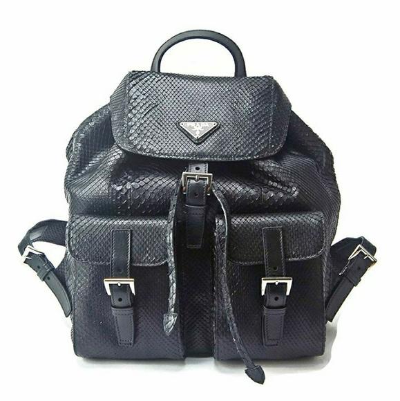 Prada Handbags - Prada Black Genuine Python Snake Skin Backpack